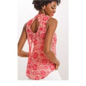 CABI Vita Floral Red and Nude Sleeveless Blouse